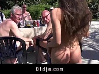 lucky old men gang bang Anitas tiny holes