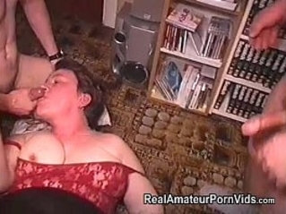 Mature fat housewife is fucked by two men