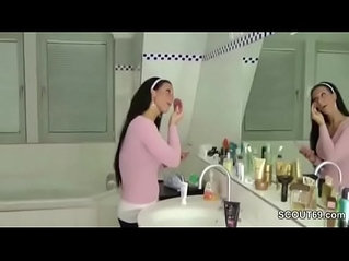 German Step Sister Caught in Bathroom and Helps with Handjob