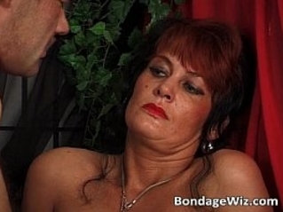 Tied guy fucks his mistress tight wet