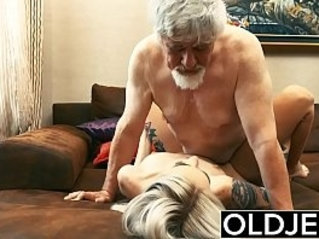 Old and Young Teen Blonde slut Fucked by Old man tight pussy licking
