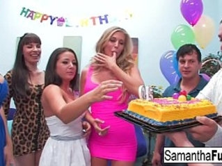 Samantha celebrates her birthday with a wild orgy
