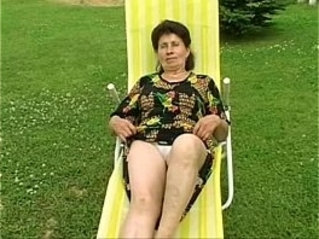 Granny Marie gets fucked so hard by the pool