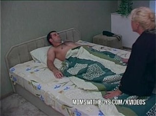 Blonde Mature Waking Stepson With Blowjob