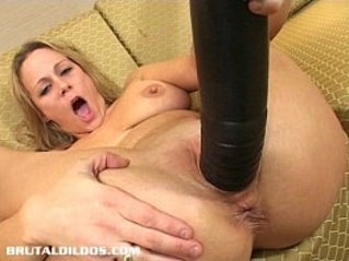 Busty blonde milf stretched by brutal dildo