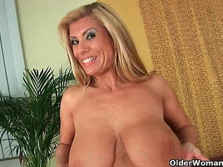 Gilf with boobs strips off and gets her pussy licked and fucked