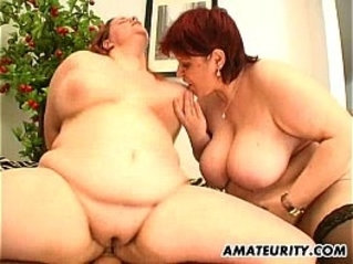 hot fat amateur blonde Milf in a threesome action with facial