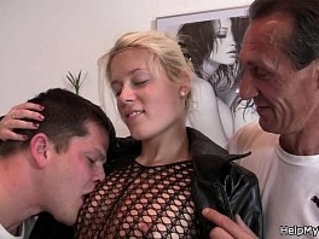 Old hubby watches his young blonde riding dick