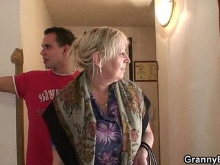 Busty granny is picked up by young stud