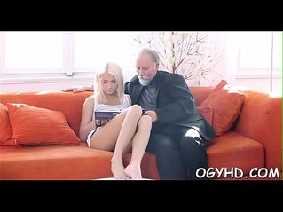 Crazy old lad licks pussy