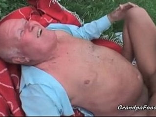 Pretty blonde babe fucked by old guy